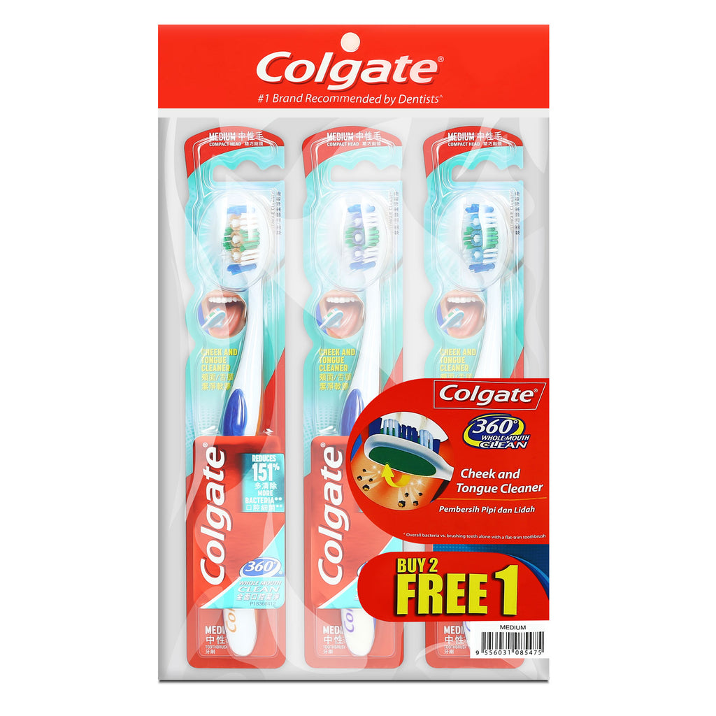 Colgate 360 Whole Mouth Clean Medium / Soft Toothbrush Buy 2 Free 1 x 3pc