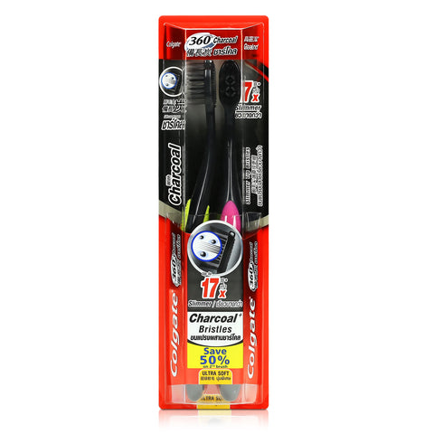 Colgate 360 Charcoal Spiral Ultra Soft Toothbrush 1pc / 2s x 2pcs