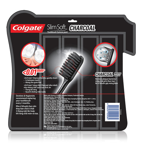 Colgate SlimSoft Charcoal Toothbrush 4pcs Pack