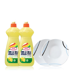 Mama Lemon Dishwashing Liquid Twin Pack with Premium 750ml