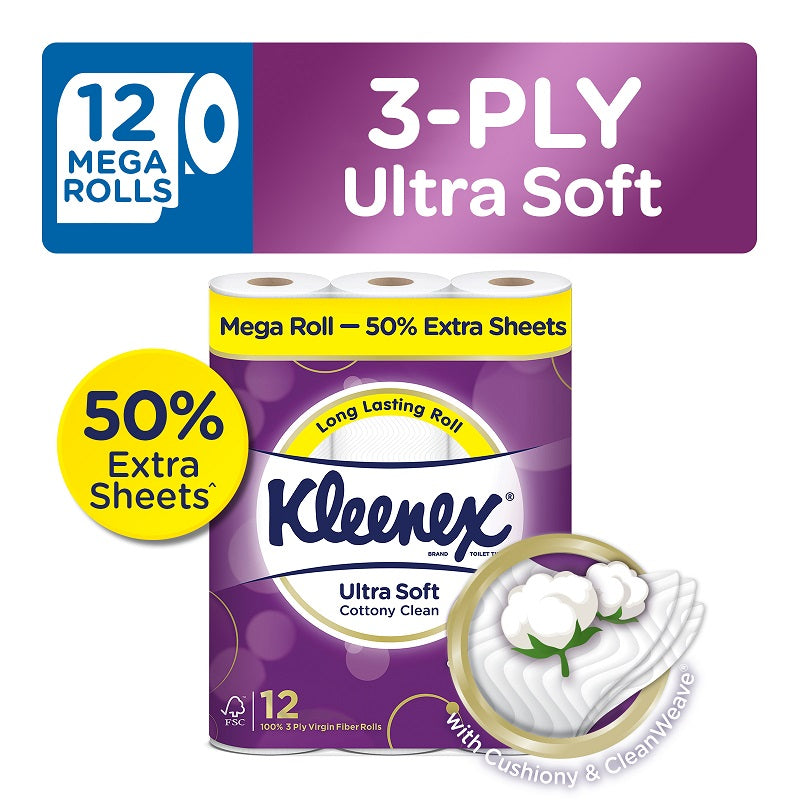 Kleenex Ultra Soft Cottony Clean Mega Roll Bath Tissues 12x300sheets