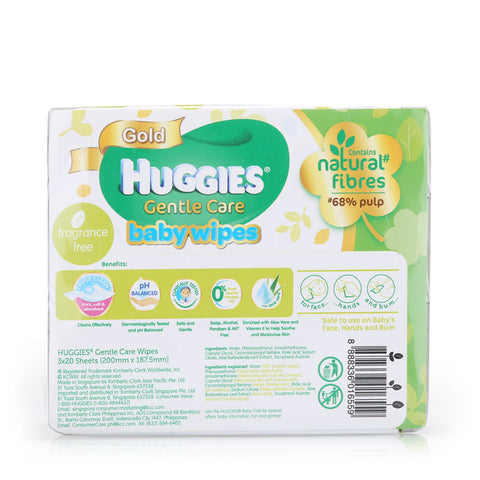 Huggies Baby Wipes Gentle Care (20sx3) 1pcs
