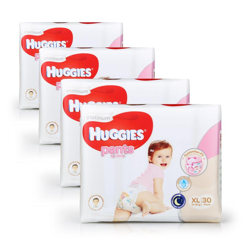 Huggies Platinum Diapers Pants XL 30pcs Girl x 4 packs