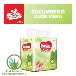 Huggies Nourishing Baby Wipes Cucumber & Aloe Vera 3x72wipes x4
