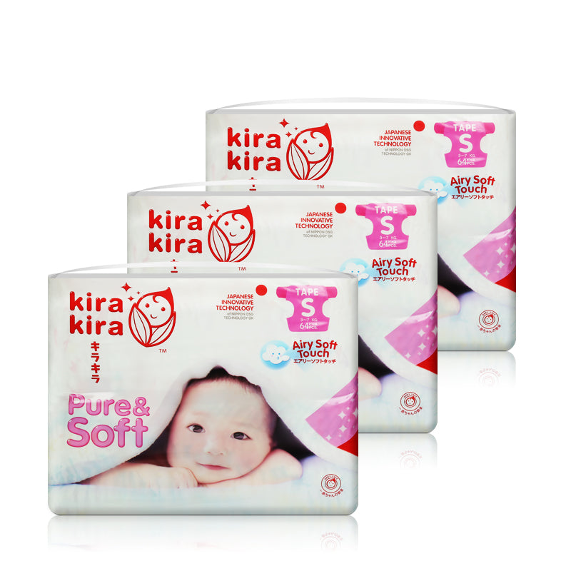 KIRA KIRA Baby Diapers Tape Jumbo Pack x 3 packs