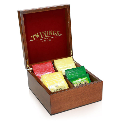 Twinings Festive Crafted Wooden Tea Chest (Selection of 4 different teas) 40 x2g