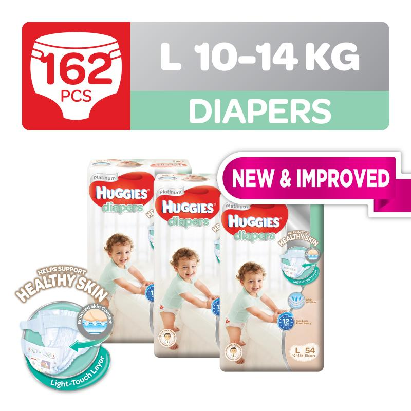 Huggies Platinum Diapers Tape L 54pcs x 3 packs