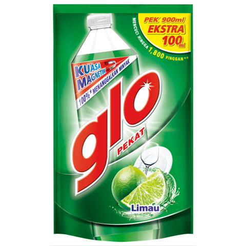 Glo Dishwashing Liquid Lime Refill 1L