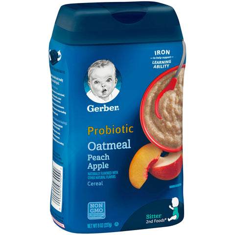 GERBER Probiotic Baby Cereal 227g (Rice Banana Apple/Oatmeal & Peach Apple)
