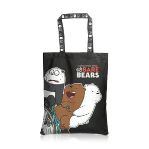 We Bare Bears Canvas Tote Bag Riding the Bicycle