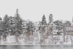 Lakefront Homes covered with Snow