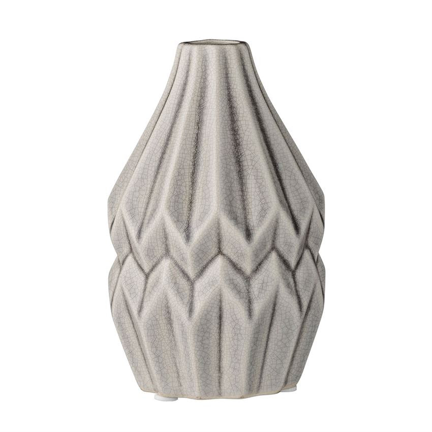 Grey Fluted Ceramic Vase