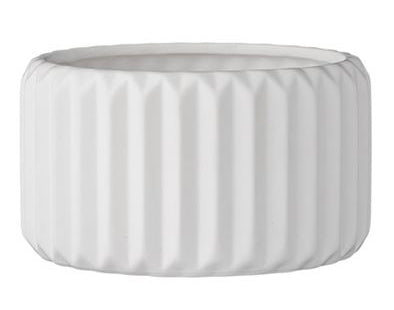 Fluted White Small Planter
