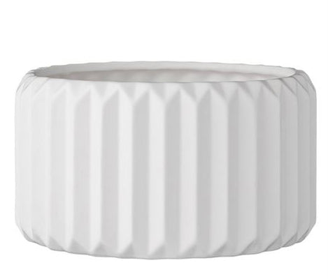 Fluted White Large Planter