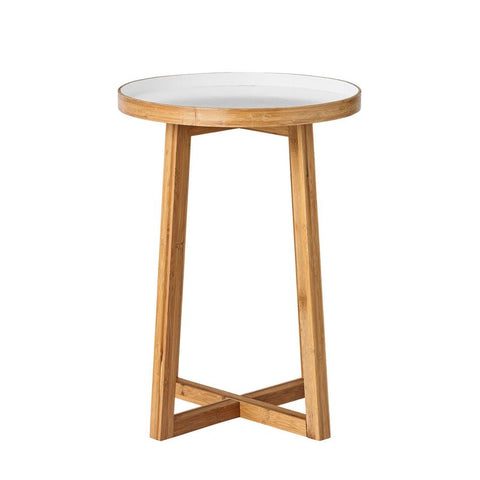Bamboo and White Side Table