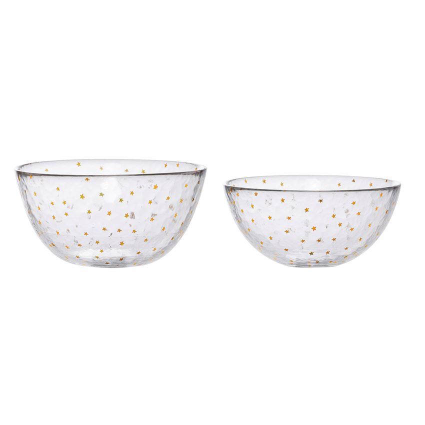 Large Glass Bowl with Gold Stars