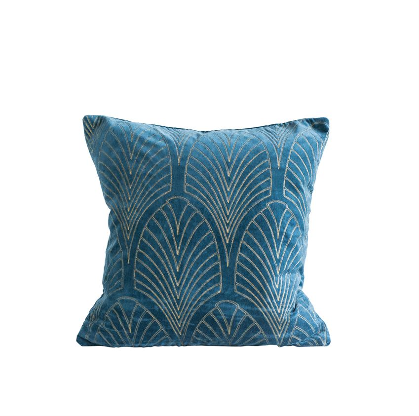 Blue Velvet Pillow with Gold Embroidery