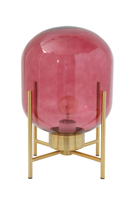 Red Glass Globe Table Lamp