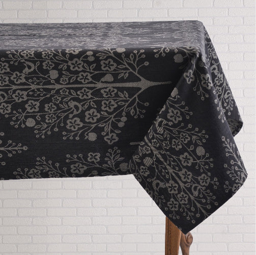 Charcoal and White Tablecloth
