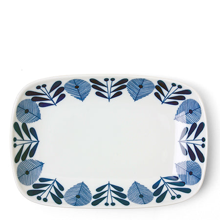 Blue and White Rectangular Dish Tableware