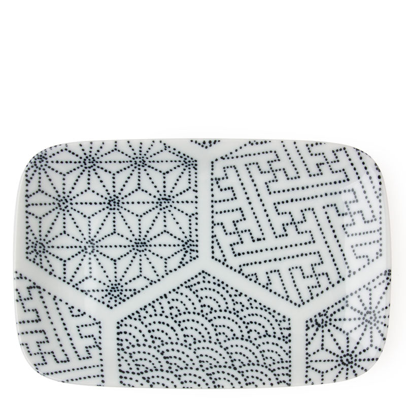 Rectangular Dish Black and White Tableware