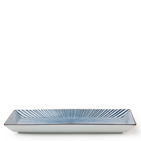 Blue and White Radial Rectangular Plate