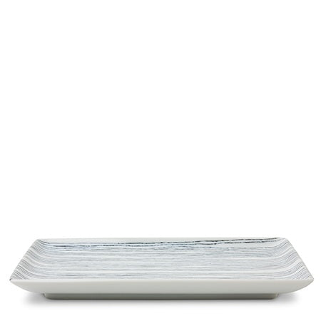 Black Striped Rectangular Plate