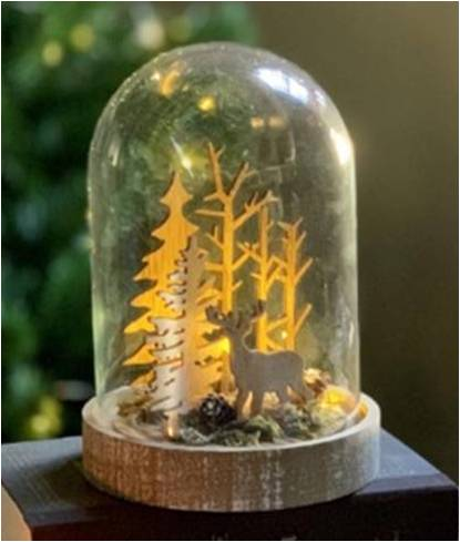 Small Reindeer and Forest Glass Dome with LED Lights