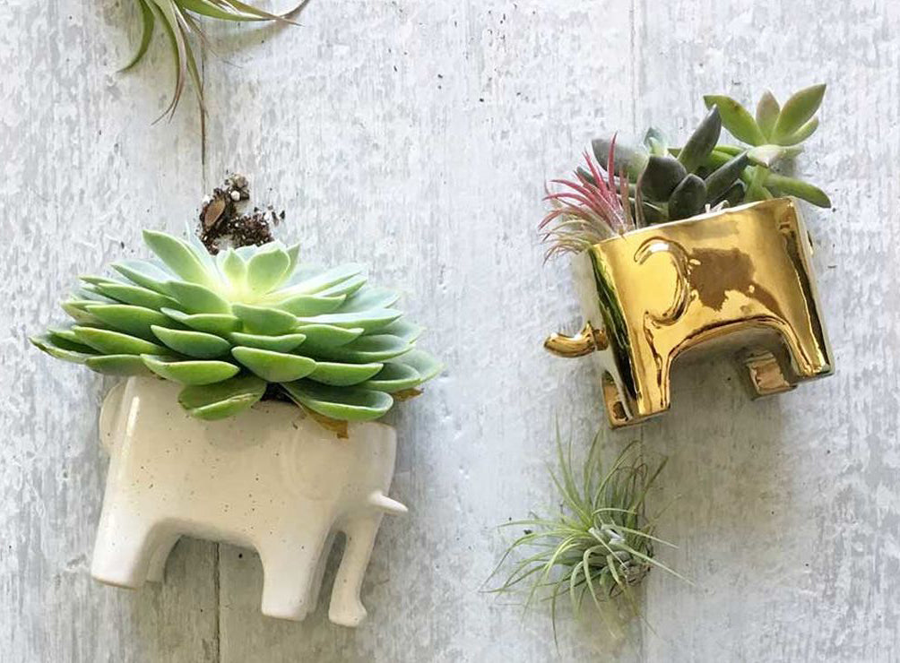 White Speckled Elephant Planter