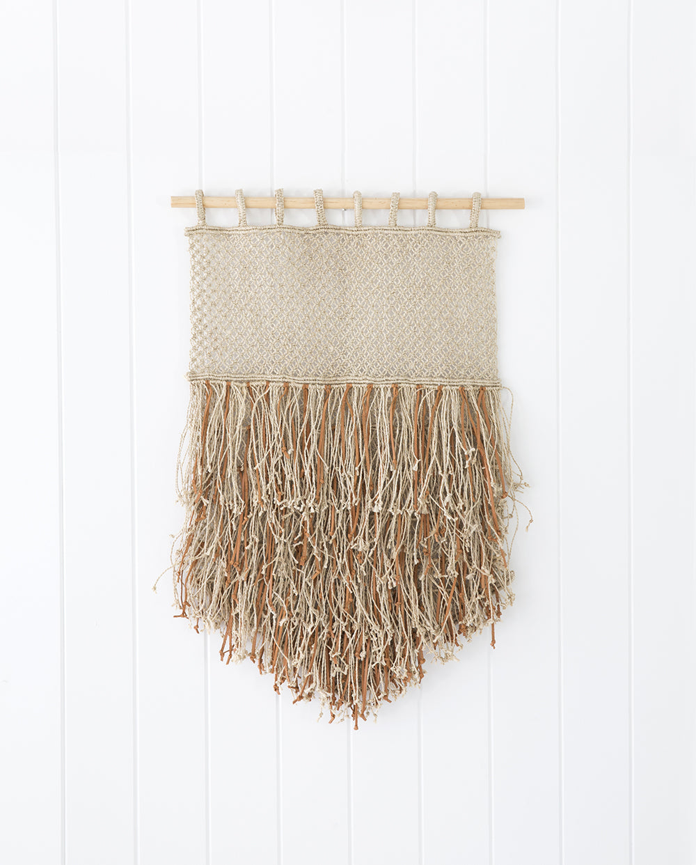 Jute and Leather Fringe Wall Hanging