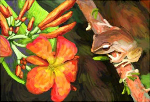 Artwork - Puerto Rico - Coqui with Flower