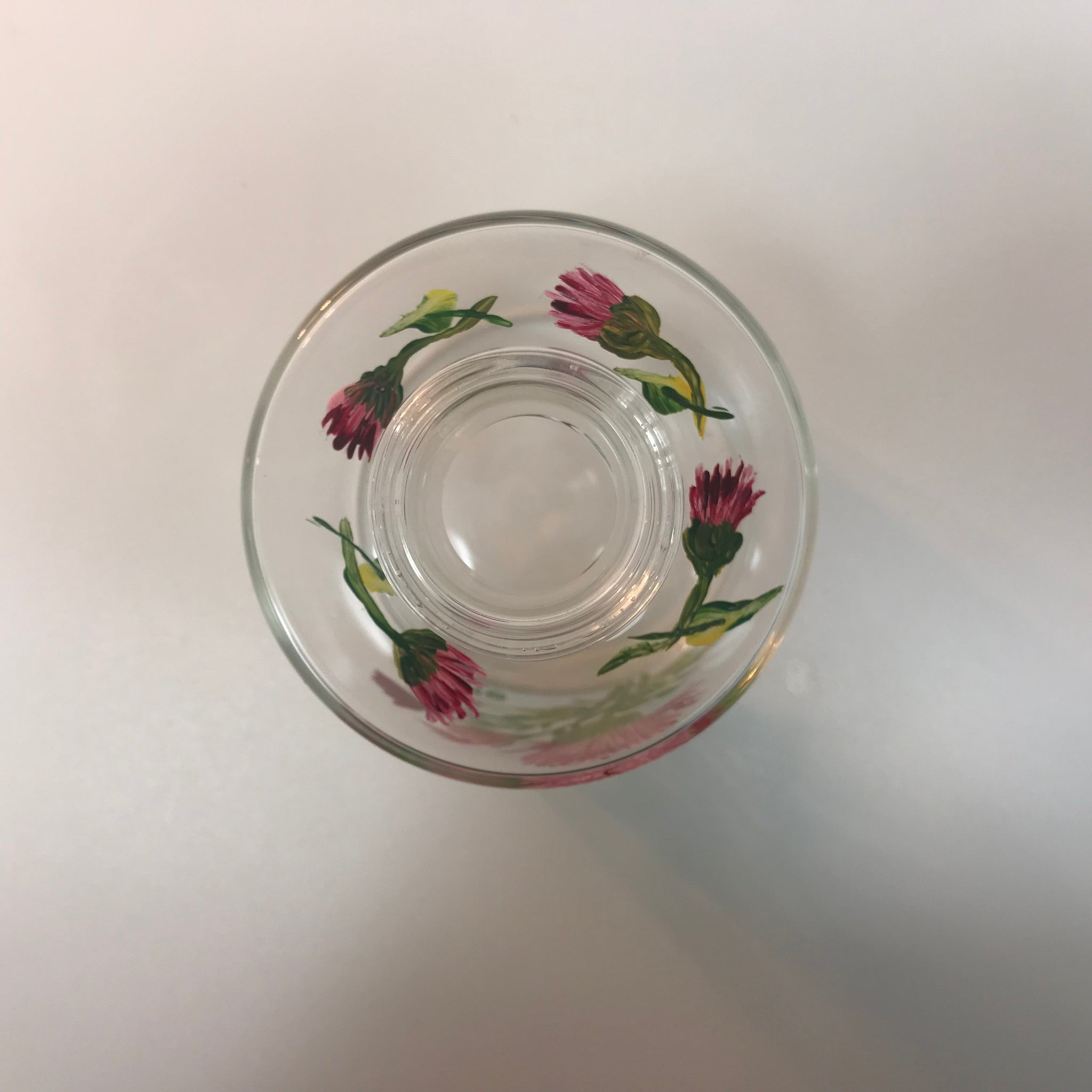 Purple Flowers Clear Glass G Vase