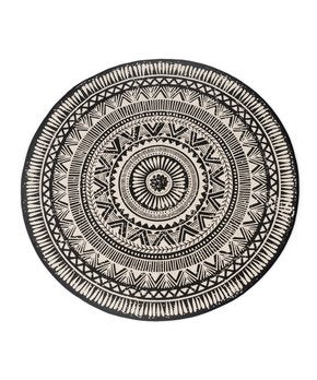 Round Black and Natural Rug