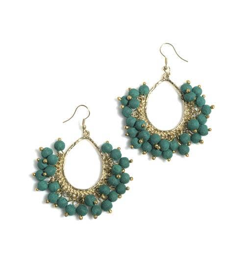 Emerald Fabric Bead Earrings