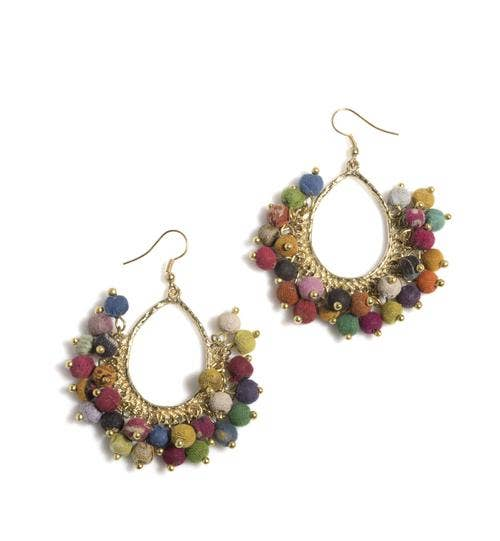 Multi Color Fabric Bead Earrings