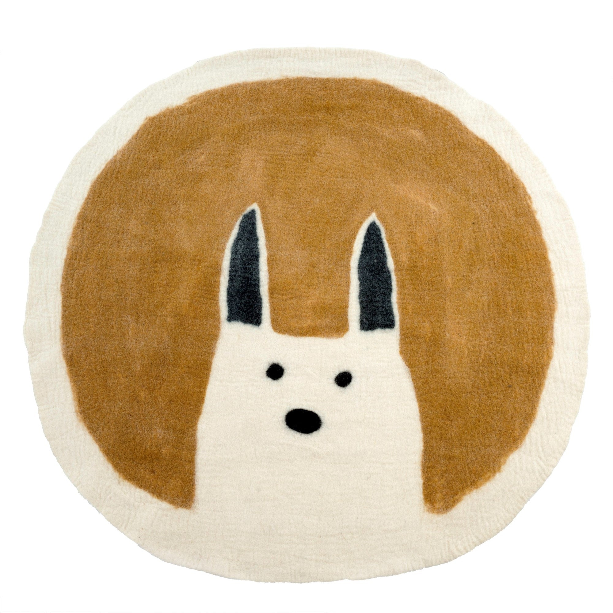 Curious Rabbit Felted Rug