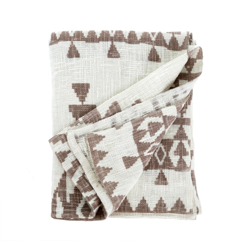 White and Taupe Throw