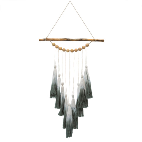 Green Ombre and Tassel Wall Hanging