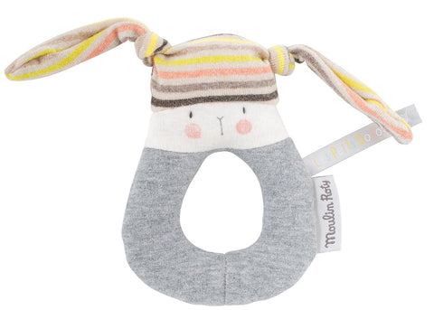 Striped Rabbit Ring Rattle
