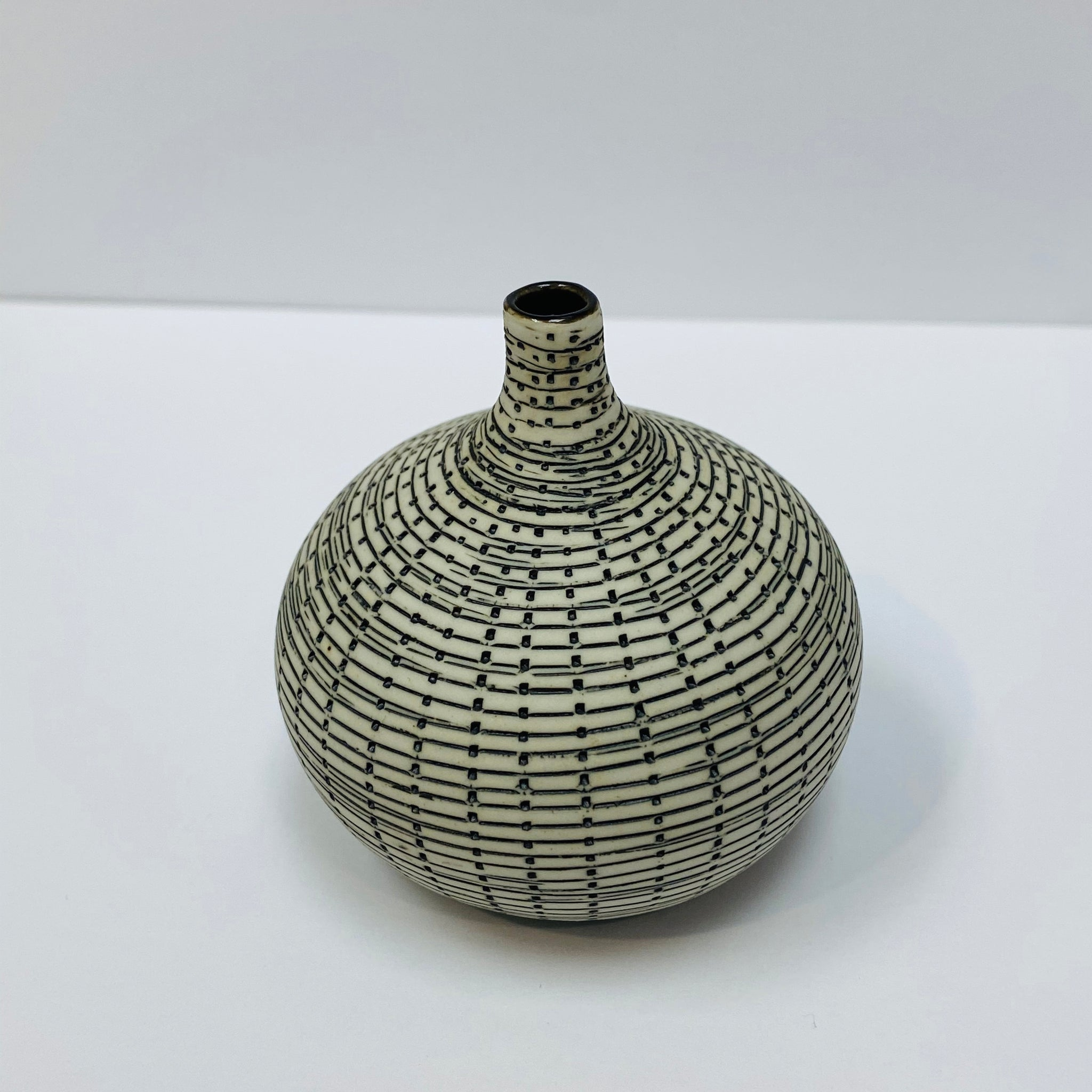 White and Black Mini Textured Bottle Vase