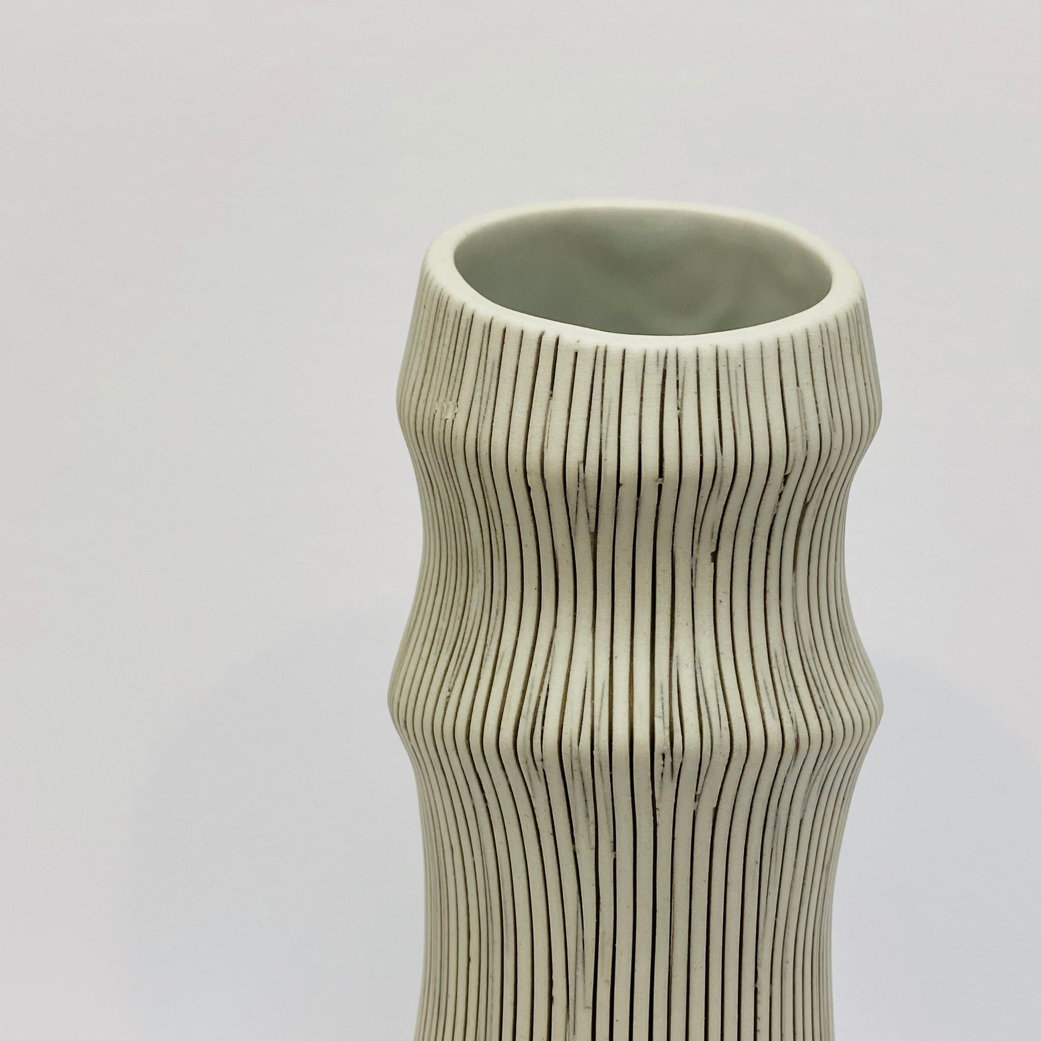 White and Black Bamboo Vase