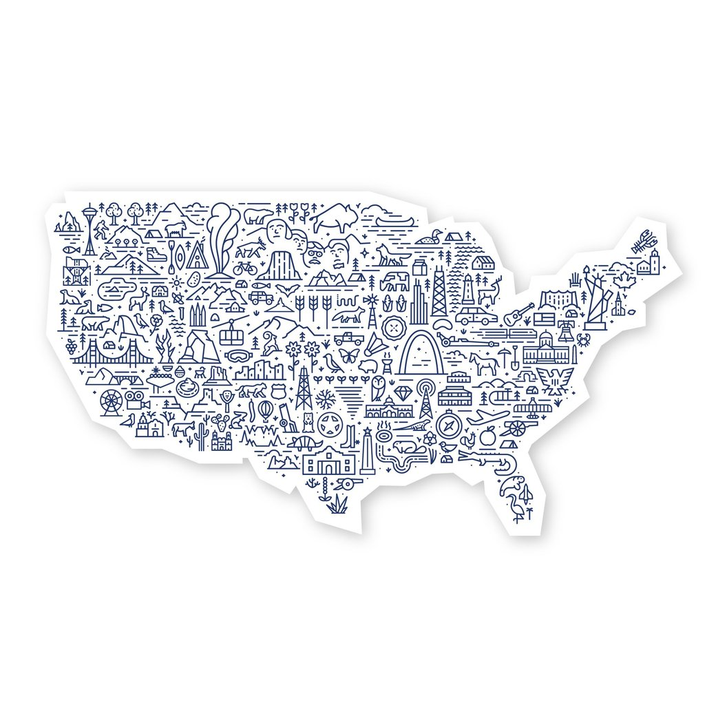 Map of the United States Sticker