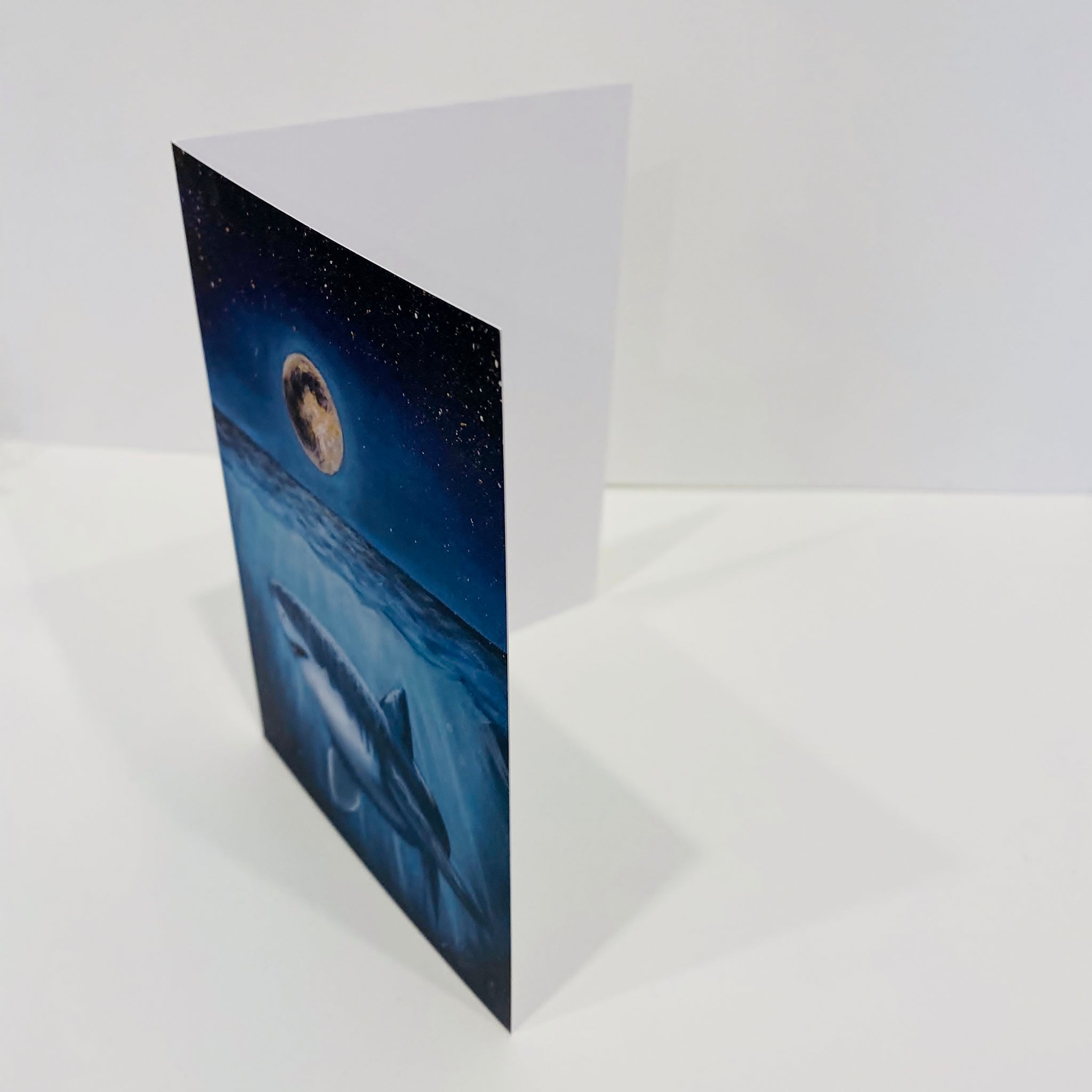Moon and Shark Greeting Card
