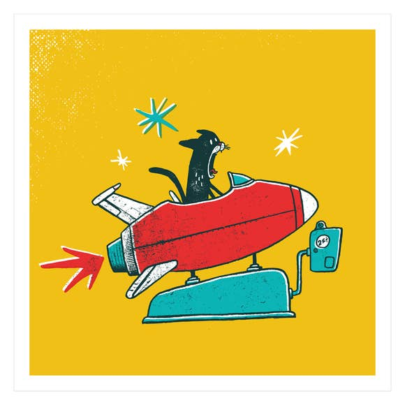 Cat Blastoff Screen Print