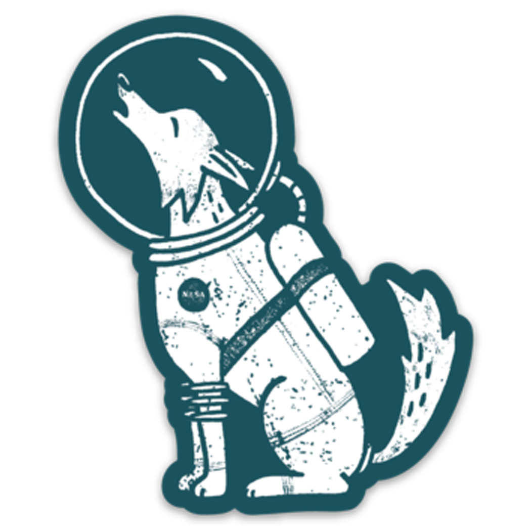 Howl at the Moon Dog Astronaut Sticker