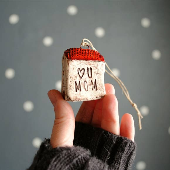 I Love You Mom Red House Ornament
