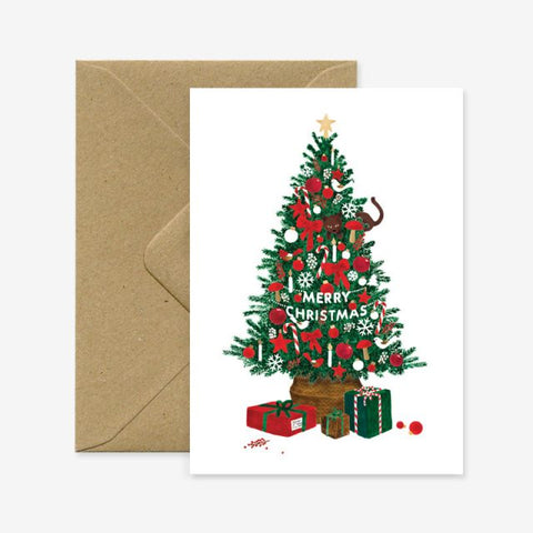 Christmas Tree Gold Foil Greeting Card