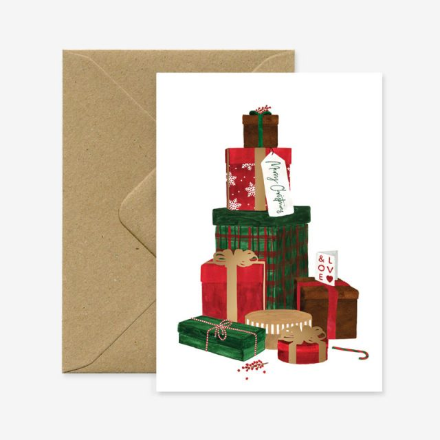 Christmas Gifts Gold Foil Greeting Card
