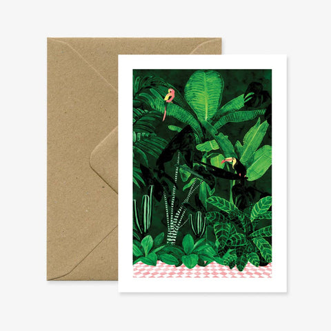 Tropical Plants and Birds Greeting Card with Brown Recycled Envelope