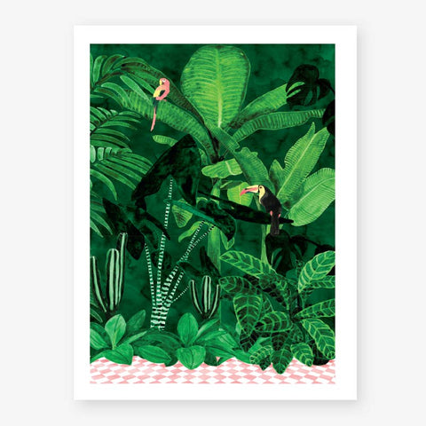 Tropical Plants and Birds Medium Art Print for Framing